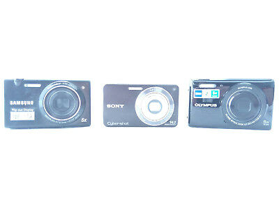 Lot Of 3 - Sold As-Is - Digital Camera Sony Samsung Olympus Dsc-W350 Mv800 Vg165