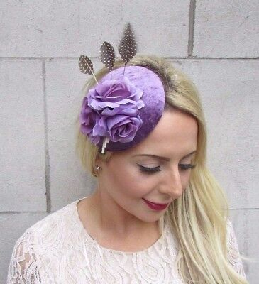 Lavender Lilac Purple Rose Flower Feather Pillbox Hat Fascinator Hair Clip 3812