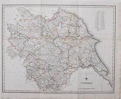 1845 LARGE ANTIQUE MAP YORKSHIRE HAND COLOURED CREIGHTON & LEWIS showing UNIONS