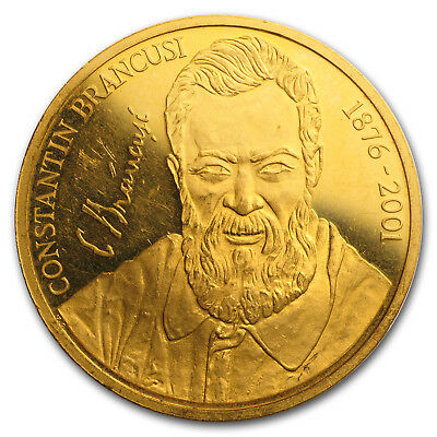 2001 Romania Proof Gold 5000 Lei Constantin Brancusi - SKU#154402