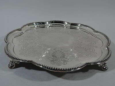 Victorian Salver - Large Antique Tray - English Sterling Silver - Elkington 1871