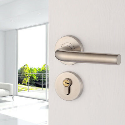 Stainless Steel Door Handle Lever Polished Chrome Handles with Lock Key Cylinder