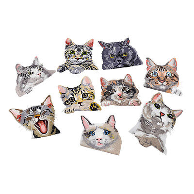 1Pc Pocket Cat Embroidered Iron On Sew On Patch Badge Fabric Applique DIY Craft