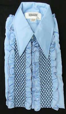New True Vintage Blue Ruffle Front Tuxedo Shirt 70's Disco Halloween Costume