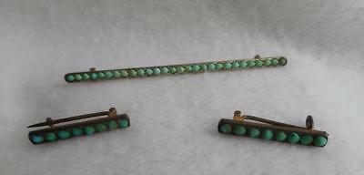 Antique Gilt 800 Silver & Persian Turquoise Bar Pin & 2 Small Beauty / Bar Pins