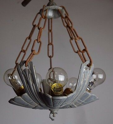 vintage antique art deco five light slipper shade chandelier