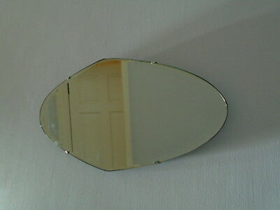 30s ART DECO VINTAGE LARGE OVAL 2 WAY HALLS FRAMELESS BEVELLED EDGE WALL MIRROR