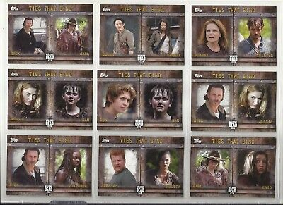 2017 WALMART Walking Dead: Season 6 TIES THAT BIND Set of 9 Chase Cards (F1-F9)