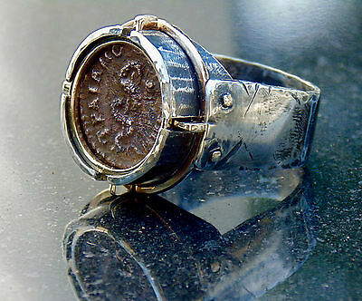 Men's Ancient Roman Coin Aesculapius Serpent Ring - Doctor's Medical Ring