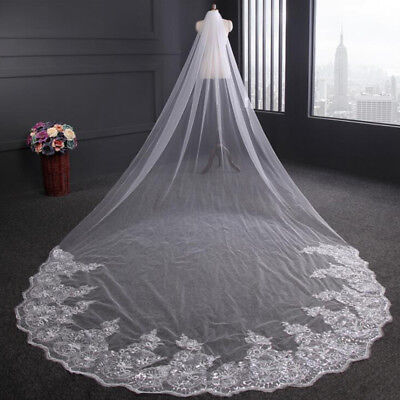Noble 4m Graceful Luxury 1T Cathedral Wedding Lace Sequins Long Veil With Comb S