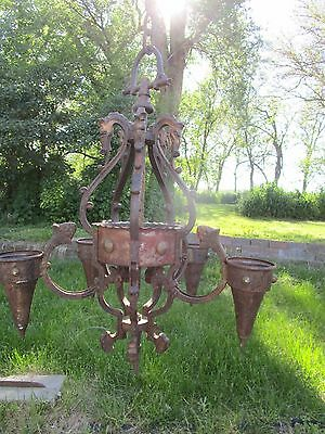 Antique Ceiling candle fixture Chandelier Iron Metal Equestrian Horses Gothic