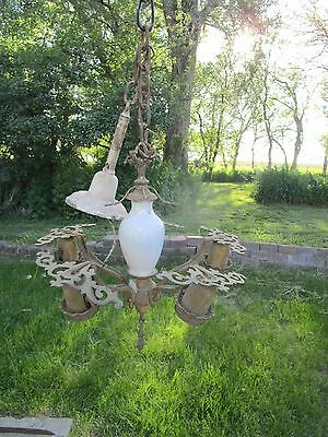 Antique Ceiling light fixture Chandelier cast metal White Porcelain
