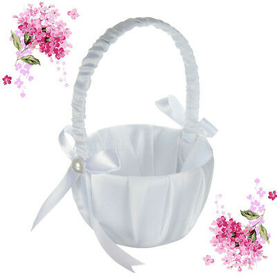 Romantic White Satin Bowknot Pearl Flower Girl Basket Wedding Party Ceremony
