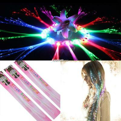 LED Light Up Hair Toy Flash Optic Extension Clip Braid Party Hair ESY1