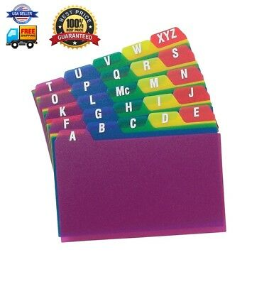 """Oxford Poly Index Card Guides, Alphabetical, A-Z, Assorted Colors, 4"""" x 6"""" Size,"""