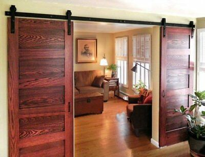 Rustic Antique Modern Style Black Double Barn Wood Steel Sliding Door Hardware A