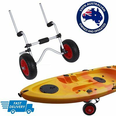 Kayak Trolley Foldable Canoe Aluminum Collapsible Wheel Cart Boat Carrier HT