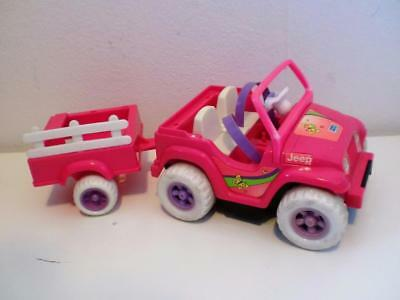 Vintage Barbie Shelly Power Wheels Fisher Price Toy Car Trailer for Dolls 1990s