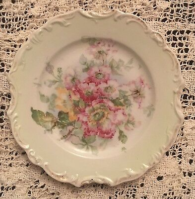 Pretty Little Antique Vintage Plate Green Hand Painted Flowers Victorian?