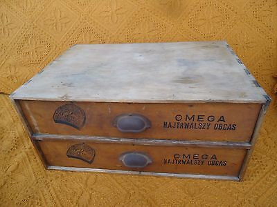 Antique wooden shoemaker chest box OMEGA rubber heels 1900's Poland