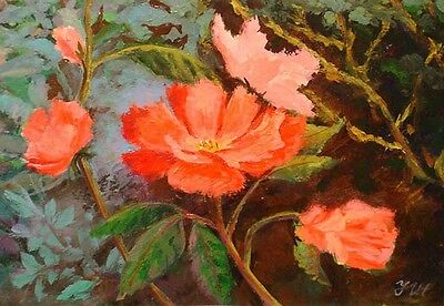 """Wild roses. Original framed acrylic on paper 8""""x10"""" painting from artist."""