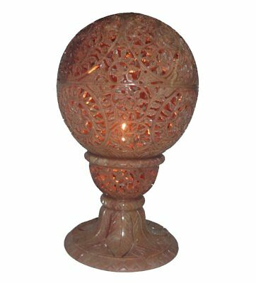 Hand Stone Candle Holder Ball Shape 6 inch Carved