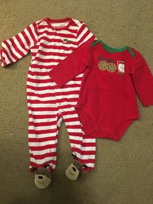 Carters Red White Stripe First Christmas Reindeer & Santa Cookies Bodysuit 9 Mo