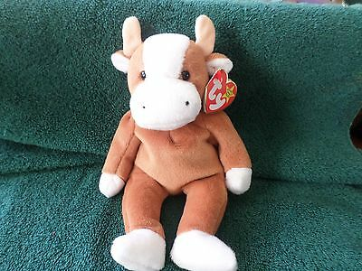 Mwmt Many Errors Ty Beanie Baby Bessie The Cow Pvc Pellets Mint