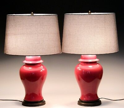 Pair Old Vintage Chinese Porcelain Famille Rose Pink Monochrome Vase Lamps