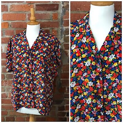PLUS SIZE 16-18 VINTAGE MULTICOLOUR FLORAL BLOUSE SHORT SLEEVES 80s 50s (VB328)
