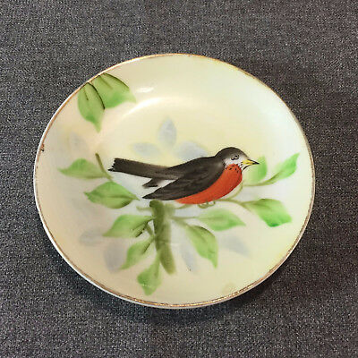 Vintage Lefton China Hand Painted Plate of a Robin on Tree Branch 4 Inches