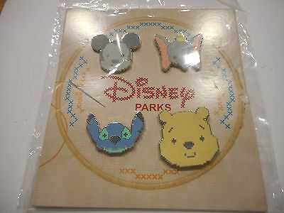 HKDL Disney Character Cross-Stitch Booster Set  Lot Of 4 Disney Pins **NEW**