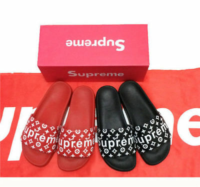 17/ss New Suppeme slides sandals slippers flip flops red or black 2017 with box.