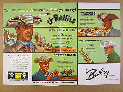 1957 Bailey U-Rollit Western Straw Hats color art vintage print Ad
