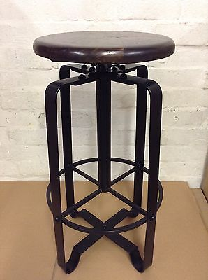 Industrial bar stool wooden top shabby vintage chic kitchen side table seat 56