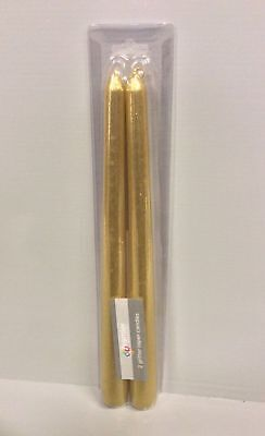 Pk x2 'Gold Glitter' Dinner Candles 10in Tall Premier Christmas/Party/Wedding