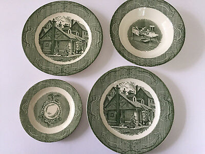 Lot of 4 Royal USA The Old Curiosity Shop Green DINNER / BREAD PLATE & VEG BOWL