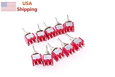 10 Pcs DPDT ON-OFF-ON Momentary Mini Toggle Switch AC 250V/2A 120V/5A
