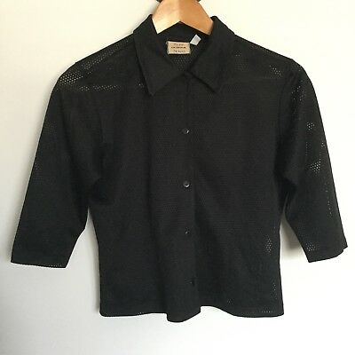 Vintage 90s Todd Oldham Black Mesh shirt blouse See Thru Size Small Cropped
