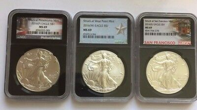 2016 (P) (W) (S) American Silver Eagle NGC MS69 3 COIN SET ~ Black Core