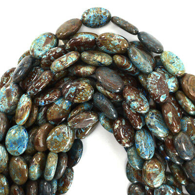 """18mm brown blue turquoise flat oval beads 15.5"""" strand"""