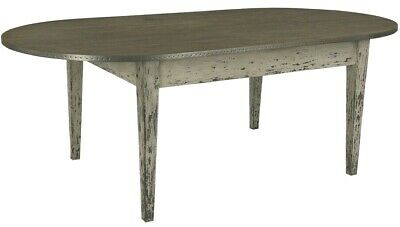 """94"""" French Antique Cottage Coastal Chic Galvanized Steel Oak Carved Dining Table"""
