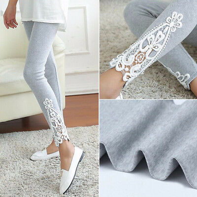 Women High Waist Yoga Fitness Leggings Running Gym Lace Sports Pants Trousers BK