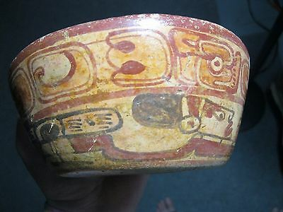 "MLC s454 AUTHENTIC 6"" Mayan POTTERY Swimmers BOWL Iconography Mexico Artifact"