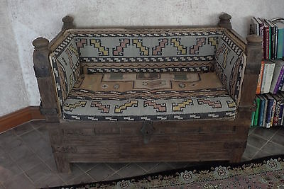 $3000 Antique Teak Indian Sofa Bench with Storage Solid  Middle Eastern