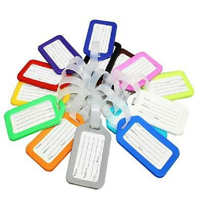 10 Plastic Luggage Baggage Tags Labels NAME ADDRESS ID SUITCASE Bag TRAVEL