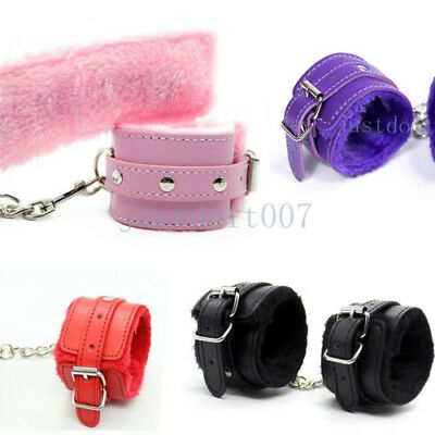 Adjustable Plush PU Leather Slave Wrist & Ankle Handcuffs Hand Restraints cuffs