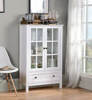 White Wood China Hutch Curio Cabinet Kitchen Storage Display Glass Door  Cupboard