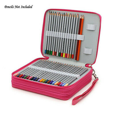 124 Holder Art Supply Portable PU Leather School Pencils Case Large Capacity