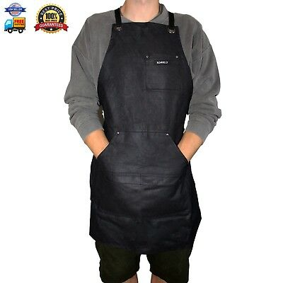 Heavy Duty Waxed Canvas Work Apron in Black by Bizarre.ly - Water Resistant - Ad